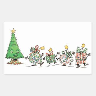 Regalos de Navidad y árbol lindos del baile del Pegatina Rectangular