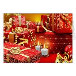 Regalos de Navidad y velas Tarjeta De Felicitación