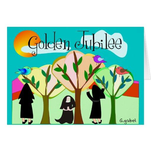 Regalos de oro del jubileo de la monja católica tarjeta de felicitación
