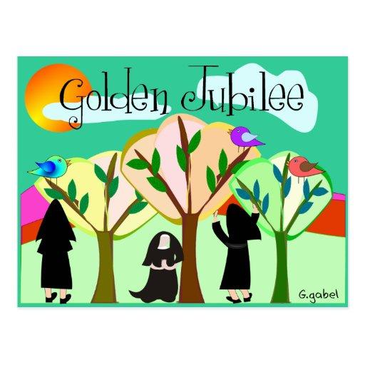 Regalos de oro del jubileo de la monja católica tarjetas postales