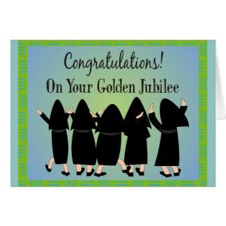 Regalos de oro del jubileo de las monjas tarjeta de felicitación