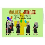 Regalos de oro del jubileo de las monjas tarjeton