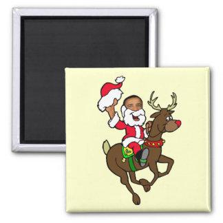 Regalos de Papá Noel del reno del navidad de Obama Imán Cuadrado