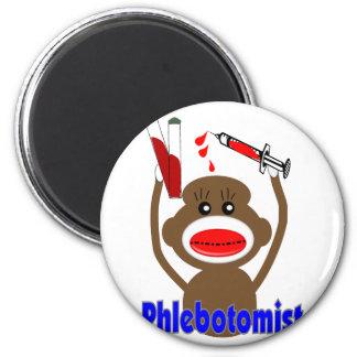 Regalos de Phlebotomist del mono del calcetín--Ado Imán Redondo 5 Cm