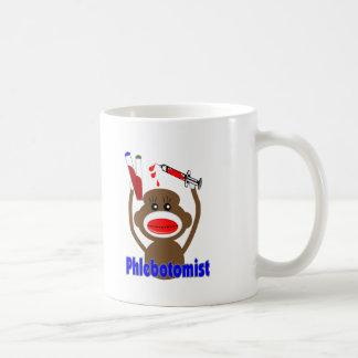 Regalos de Phlebotomist del mono del calcetín--Ado Taza Básica Blanca