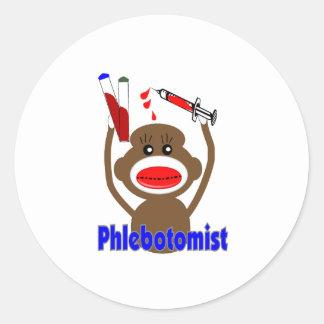 Regalos de Phlebotomist del mono del Pegatinas Redondas