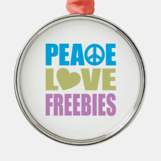 Regalos de promoción del amor de la paz adorno redondo plateado