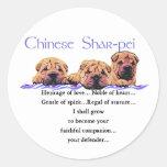 Regalos de Shar-pei del chino Etiquetas Redondas