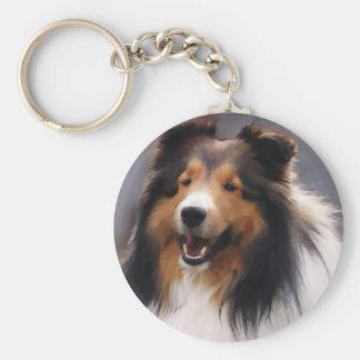 Regalos de Sheltie del perro pastor de Shetland Llavero Redondo Tipo Pin