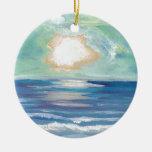 Regalos de Sun de la resaca del mar del océano de Adorno Redondo De Cerámica