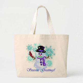 Regalos de vacaciones del muñeco de nieve bolsa lienzo