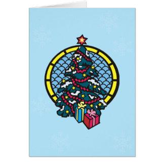 Regalos debajo de la tarjeta de Navidad del árbol