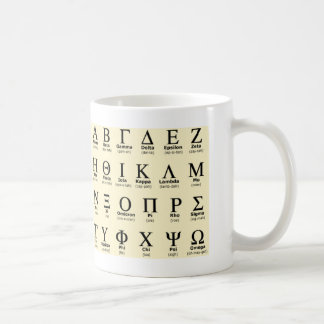regalos del alfabeto griego taza de café