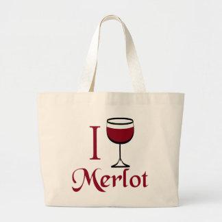 Regalos del amante del vino del Merlot Bolsa De Tela Grande