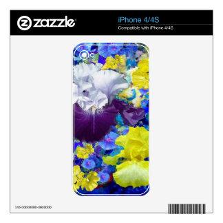 Regalos del amarillo del jardín del iris por calcomanía para el iPhone 4