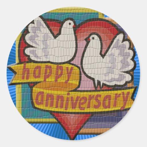 Regalos del aniversario de boda pegatina redonda