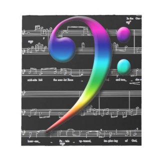 Regalos del arco iris del Clef bajo de la música Bloc De Papel