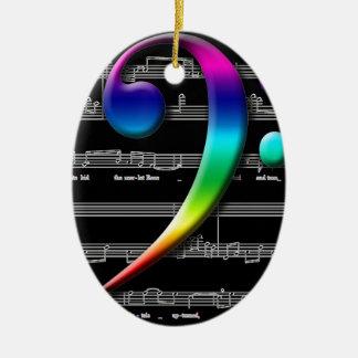 Regalos del arco iris del Clef bajo de la música Adornos De Navidad
