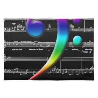 Regalos del arco iris del Clef bajo de la música Mantel Individual