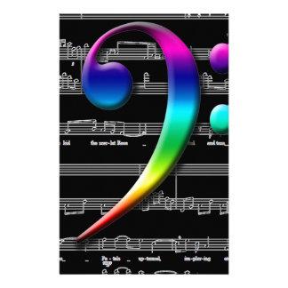Regalos del arco iris del Clef bajo de la música Papeleria Personalizada