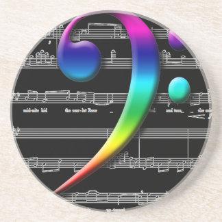 Regalos del arco iris del Clef bajo de la música Posavasos Diseño