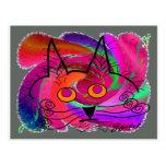 Regalos del arte abstracto de los amantes del gato postales