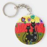 Regalos del arte de los amantes del gato negro llavero personalizado