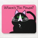 Regalos del arte de los amantes del gato negro tapete de ratón