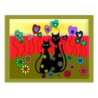 Regalos del arte de los amantes del gato negro postal
