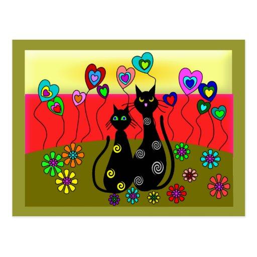 Regalos del arte de los amantes del gato negro tarjetas postales