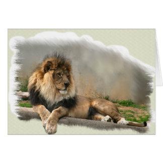 Regalos del arte de los amantes del león felicitación