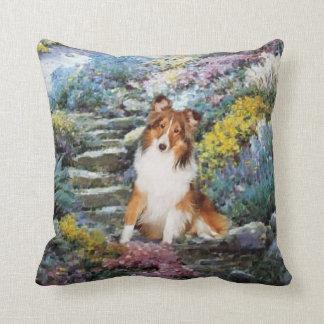 Regalos del arte de Sheltie del perro pastor de Cojín Decorativo