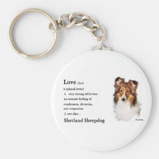 Regalos del arte de Sheltie del perro pastor de Sh Llavero Redondo Tipo Pin