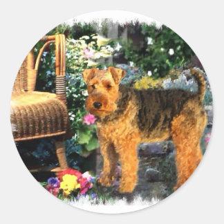 Regalos del arte de Terrier galés Pegatina Redonda