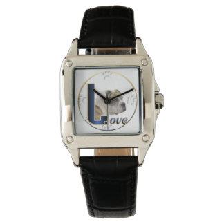 Regalos del arte del amor del dogo relojes de pulsera