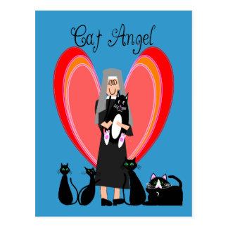 Regalos del arte del ángel del gato de la monja tarjetas postales