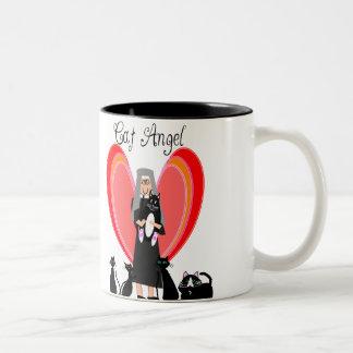 Regalos del arte del ángel del gato de la monja tazas de café