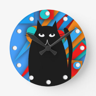 Regalos del arte del gato negro relojes