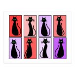 Regalos del arte pop de los gatos negros tarjetas postales