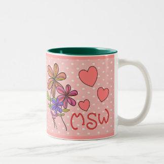 Regalos del asistente social taza de café de dos colores