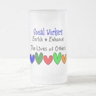 Regalos del asistente social taza de cristal