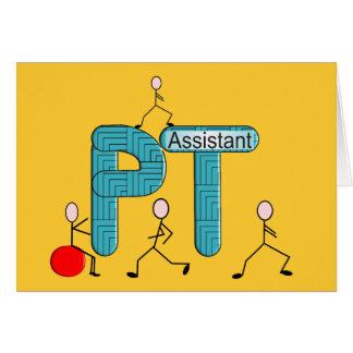 Regalos del ayudante de la terapia física tarjeta de felicitación