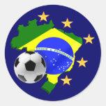 Regalos del balón de fútbol de las estrellas del m etiquetas redondas