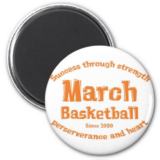 Regalos del baloncesto de marzo imán redondo 5 cm