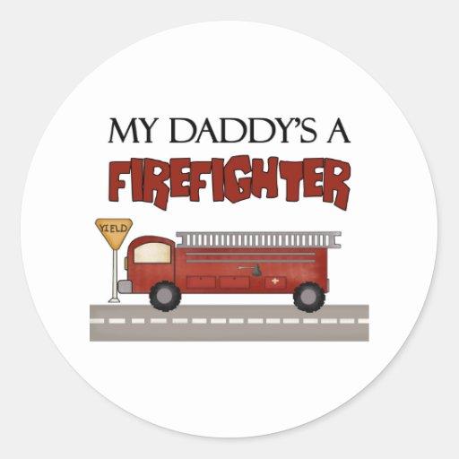 Regalos del bombero pegatina redonda