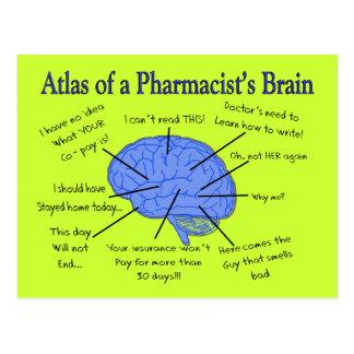 Regalos del cerebro del farmacéutico divertido postales