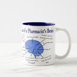 Regalos del cerebro del farmacéutico divertido taza de dos tonos