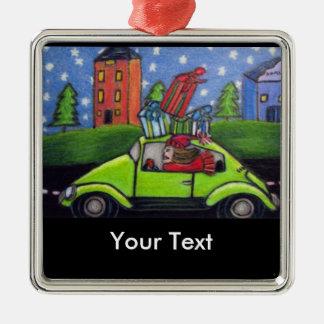 Regalos del coche del navidad que hacen compras ornamentos de reyes
