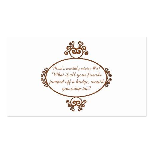 Regalos del corazón y de la boca - el consejo de tarjetas de visita