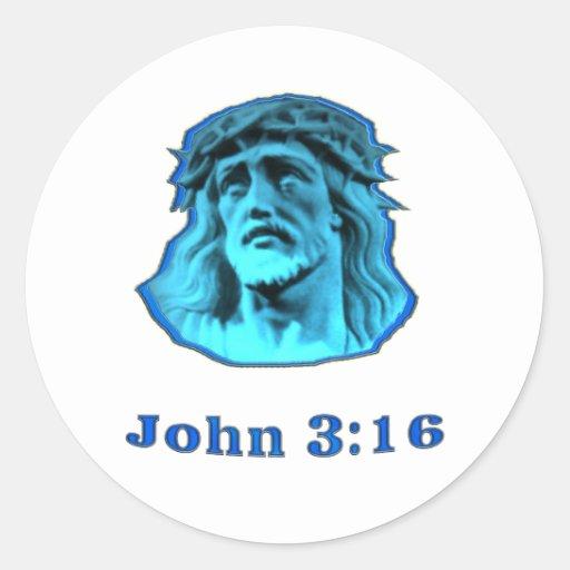 regalos del cristiano del 3:16 de Juan Pegatina Redonda